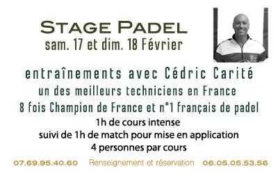 Stage de Padel avec Cédric Carité Février 2018