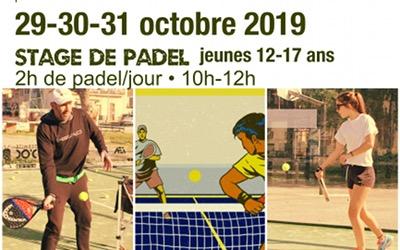 Stages de Padel jeunes 29-30-31 Octobre