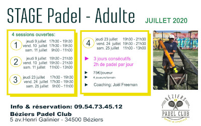 STAGES PADEL ADULTES