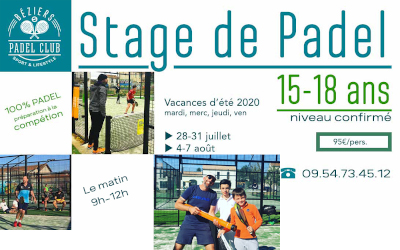 Stages de Padel 15-18 ETE 2020