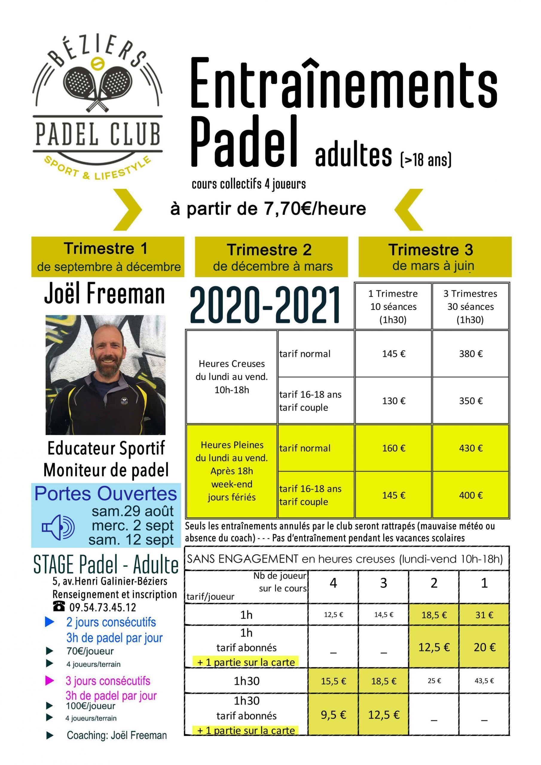 Ecole de padel Adultes 2020-2021