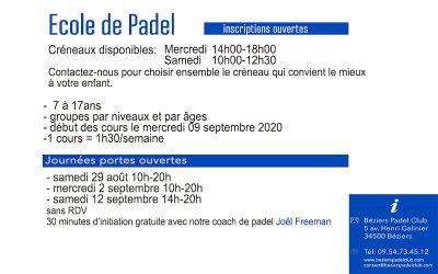 ECOLE DE PADEL – INSCRIPTIONS OUVERTES – 2020-2021