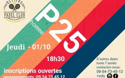 P25 HOMME – Jeudi 01/10 2020 18h30