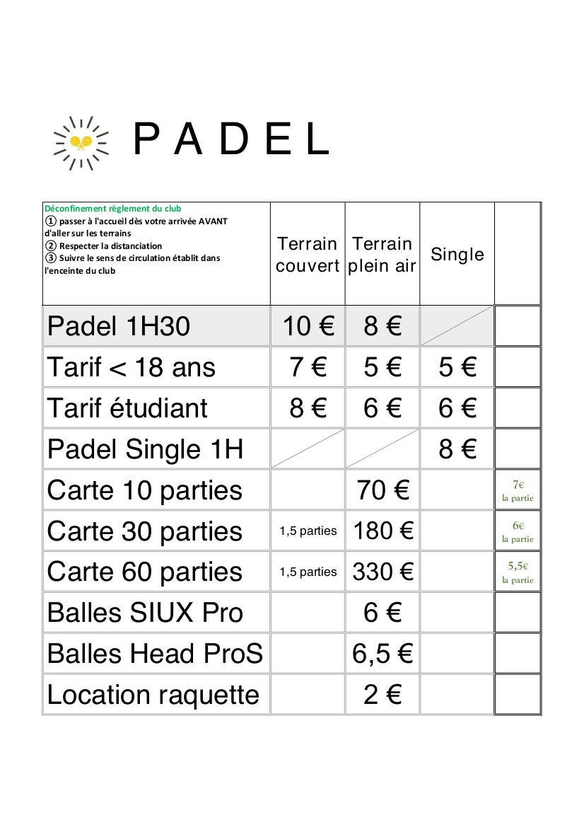 Tarifs Padel Béziers 2021