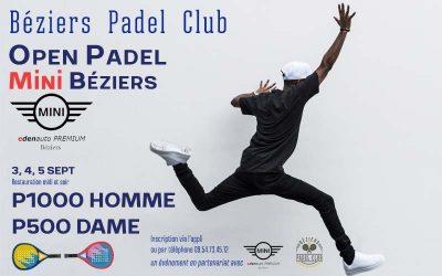 Open Padel Mini Béziers P1000 Homme et P500 Dame
