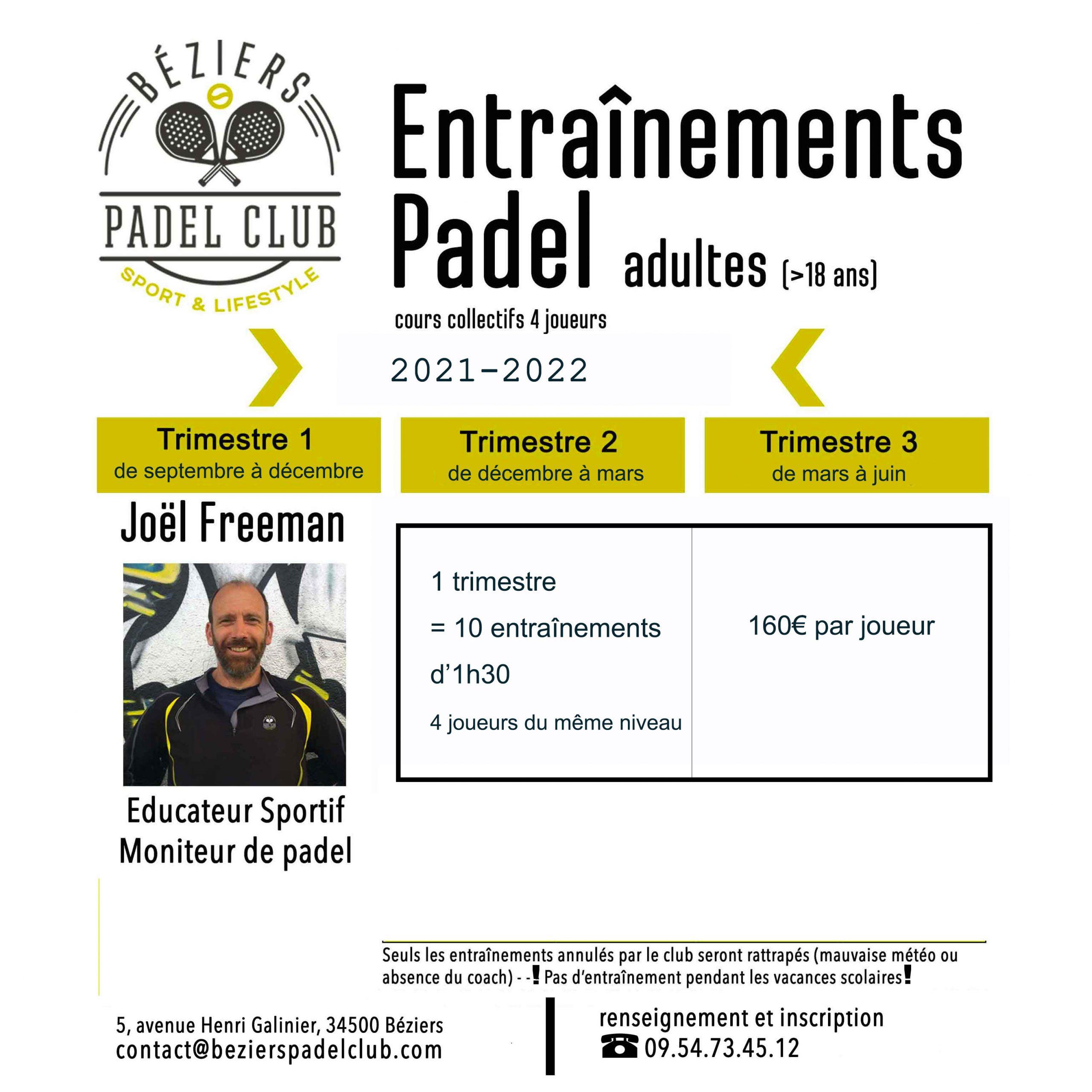 Béziers padel club tarifs coaching 2021-2022